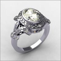 Modern Victorian 18K White Gold 2.0 CT Oval Zirconia Bridal Ring R58-18KWGCZ-4