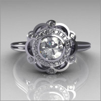 Classic 18K White Gold Round Diamond .50 CT Zirconia Bridal Ring R70-18KWGDCZ-1