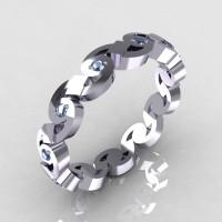 Exclusive 18K White Gold Blue Topaz Eternity Designer Ring Y243-18KWGBT-1