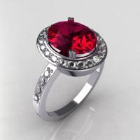 Victorian 950 Platinum 3.0 CT Oval Raspberry Red Garnet 0.45 CTW Diamond Ring R72-PLATDRG-1