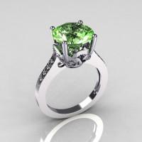 French Bridal 950 Platinum 3.5 Carat Green Topaz Pave Diamond Solitaire Wedding Ring R301-PLATDGT-1