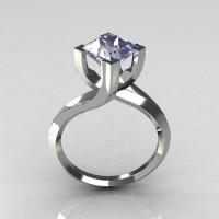 Modern 950 Platinum 1.25 Carat Princess Cut Blue Topaz Designer Ring R74-1PLATBT-1