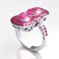 Modern Edwardian 950 Platinum 1.5 CTW Round Three Stone Pink Sapphire Engagement Ring R75-PLATPS-1