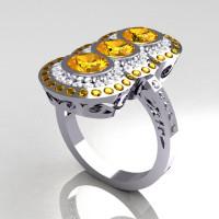 Modern Edwardian 14K White Gold 1.5 CTW Round Three Stone Yellow Sapphire CZ Engagement Ring R75-14WGCZYS-1