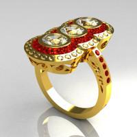 Modern Edwardian 22K Yellow Gold 1.5 CTW Round Three Stone Red Garnet CZ Engagement Ring R75-22YGCZRG-1