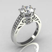 Modern Antique 14K White Gold 1.25 Carat CZ Pave Diamond Solitaire Wedding Ring Y233-14KWGDCZ-1