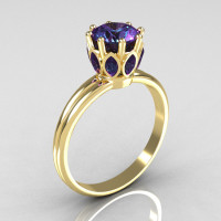 Modern Antique 18K Yellow Gold 0.40 CT Marquise and 1.0 CT Round Alexandrite Solitaire Ring R90-18KYGAL-1