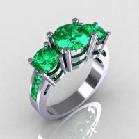 Modern 950 Platinum Gold Three Stone 2.25 Carat Total Round Emerald Bridal Ring R94-PLATEM-1