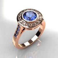 Classic Brilliant Style 18K Pink Gold 1.0 Carat Round Blue Topaz Diamond Bead-Set Border Engagement Ring R42-18KPGDBTT-1