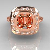 Classic Legacy Style 14K Pink Gold 2.0 Carat Cushion Cut Semi Mount Diamond Engagement Ring R60-14KPGDSEMI-1