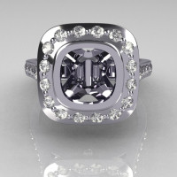Classic Legacy Style 950 Platinum 2.0 Carat Cushion Cut Semi Mount Diamond Engagement Ring R60-PLATDSEMI-1