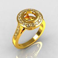 Classic Brilliant Style 22K Yellow Gold 1.0 Carat Round Semi Mount Accent Diamond Bead-Set Border Engagement Ring R42-22KYGDSEMI-1