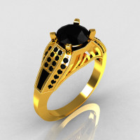 Aztec-Edwardian 22K Yellow Gold 1.0 CT Round and Baguette Black Diamond Engagement Ring MR001-22YGBD-1