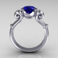 Modern Antique 10K White Gold 1.0 Carat Round Blue Sapphire Designer Solitaire Ring R122-10WGBS-2