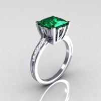 Modern Italian 10K White Gold 2.0 Carat Princess Emerald Channel Diamond Solitaire Ring R312-10KWGEMD-1