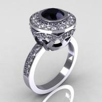 Modern Vintage 18K White Gold 1.0 Carat Black and White Diamond Solitaire Ring R132-18KWGDDBD-1