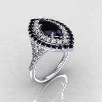 Soleste Style Bridal 14K White Gold 1.0 Carat Marquise Black and White Diamond Engagement Ring R117-14WGDBDD-1