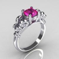 Modern Antique 10K White Gold 1.0 Carat Round Pink Sapphire Designer Solitaire Ring R141-10WGPS-1