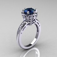 Modern Classic 18K White Gold 1.5 Carat London Blue Sapphire Diamond Crown Engagement Ring AR128-18KWGDLBS-1