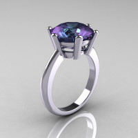 Classic Russian Bridal 18K White Gold 5.0 Carat Alexandrite Solitaire Ring RR133-18KWGAL-1