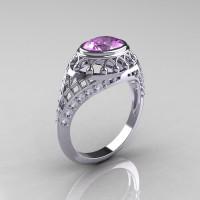 Modern Victorian 950 Platinum 1.16 Carat Oval Alexandrite 0.24 CTW Diamond Bridal Ring R158-PLATDAL-1