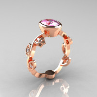 Classic 14K Rose Gold 1.0 Carat Oval Light Pink Topaz Diamond Flower Leaf Engagement Ring R159O-14KRGDPT-1