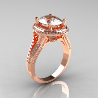 French Bridal 10K Rose Gold 2.5 Carat Oval White Sapphire Diamond Cluster Engagement Ring R164-10KRGDWS-1