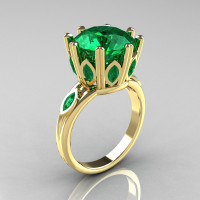 Classic 14K Yellow Gold Marquise and 5.0 CT Round  Emerald Solitaire Ring R160-14KYGEM-1