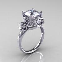 Modern Vintage 950 Platinum 2.5 Carat CZ Diamond Wedding Engagement Ring R167-PLATDCZ-1
