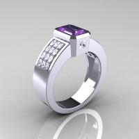 Ultra Modern 14K White Gold Princess Invisible CZ 1.0 CT Emerald Alexandrite Engagement Ring R169-14KWGCZAL-1