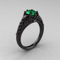 Designer Exclusive Classic 18K Black Gold 1.0 Carat Emerald Diamond Lace Ring R175-18KBGDEM-1