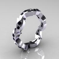 Custom 925 Sterling Silver Mens Black Diamond Eternity Ring Y245-925SSBD-1