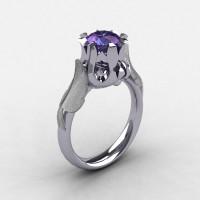 Nature Classic 18K White Gold 2.0 Carat Alexandrite Wedding Ring Engagement Ring NN105-18KWG2AL-1