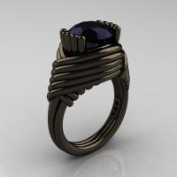 Modern Antique 14K Black Gold 3.0 Carat Black Onyx Wedding Ring R211-14KBGBO-1