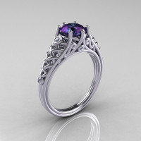 Classic French 18K White Gold 1.0 Carat Alexandrite Diamond Lace Ring R175-18WGDAL-1