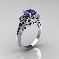 Classic 10K White Gold 1.0 CT Russian Alexandrite Black Diamond Solitaire Wedding Ring R203-10KWGBDAL-1