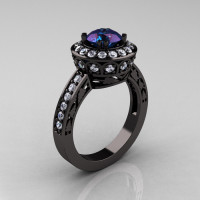 14K Black Gold 1.0 Carat Russian Alexandrite Diamond Wedding Ring Engagement Ring R199-14KBGDA-1