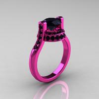 Modern Italian 14K Pink Gold 1.5 CT Black Diamond Wedding Ring Engagement Ring AR119-14KPGBD-1