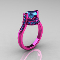 Modern Italian 14K Pink Gold 1.5 CT Blue Topaz Wedding Ring Engagement Ring AR119-14KPGBT-1