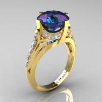 French Vintage 14K Yellow Gold 3.0 CT Russian Alexandrite Diamond Bridal Solitaire Ring Y306-14KYGDAL-1