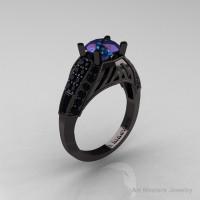 Aztec Edwardian 14K Black Gold 1.0 CT Russian Chrysoberyl Alexandrite Black Diamond Engagement Ring R001-14KBGBDAL-1