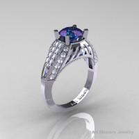 Aztec Edwardian 14K White Gold 1.0 CT Russian Chrysoberyl Alexandrite Diamond Engagement Ring R001-14KWGDAL-1
