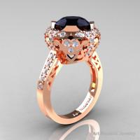 Modern Edwardian 14K Rose Gold 3.0 Carat Black and White Diamond Engagement Ring Wedding Ring Y404-14KRGDBD-1