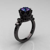 Exclusive Classic Armenian 14K Black Gold 1.0 Alexandrite Black Diamond Bridal Solitaire Ring R405-14KBGBDAL-1