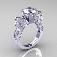 French 14K White Gold 3.0 CT Russian White CZ Diamond Engagement Ring Wedding Ring R382-14KWGDRCZ-1