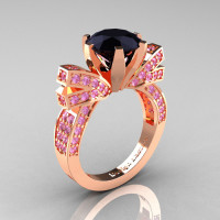 French 14K Rose Gold 3.0 CT Black Diamond Light Pink Sapphire Engagement Ring Wedding Ring R382-14KRGLPSBD-1