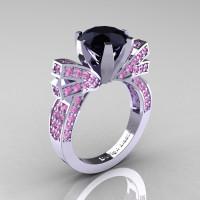 French 14K White Gold 3.0 CT Black Diamond Light Pink Sapphire Engagement Ring Wedding Ring R382-14KWGLPSBD-1