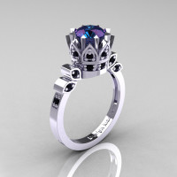 Classic Armenian 14K White Gold 2.0 Alexandrite Black Diamond Bridal Solitaire Ring R405-14KWGBD2AL-1