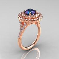 Classic Soleste 14K Rose Gold 1.0 Ct Chrysoberyl Alexandrite Diamond Ring R236-14RGDAL-1