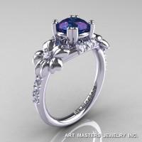 Nature Inspired 14K White Gold 1.0 Ct Alexandrite Diamond Leaf and Vine Engagement Ring R245-14KWGDAL-1